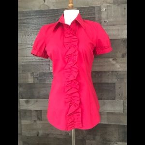 NEW YORK AND COMPANY STRETCH  MAGENTA S/S BLOUSE S